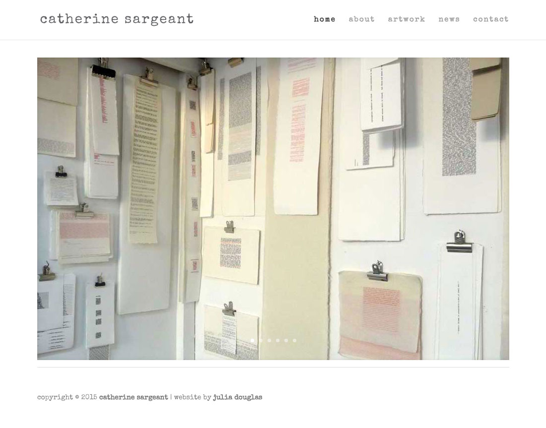 Catherine Sargeant, Website by Julia Douglas